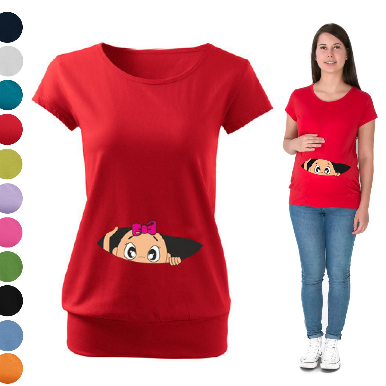 Maternity Pregnancy Funny T-shirt Top Baby Shower Gift Peeking baby Sweet Girl
